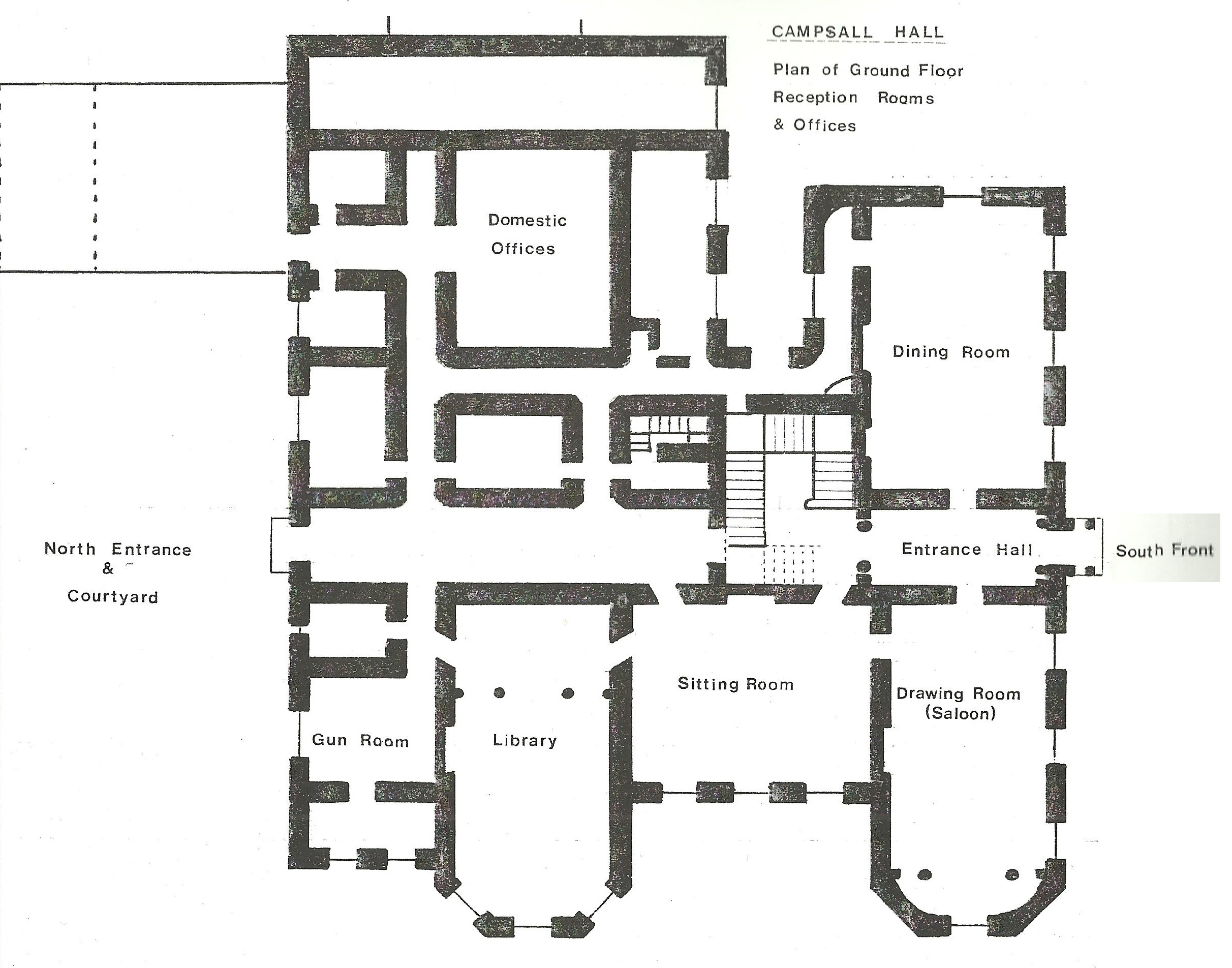 Ground floor plan of campsall hall